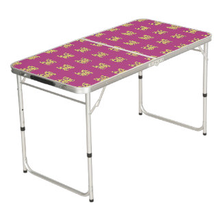 CVAn0074 Butterfly Yellow Purple Pink Beer Pong Table