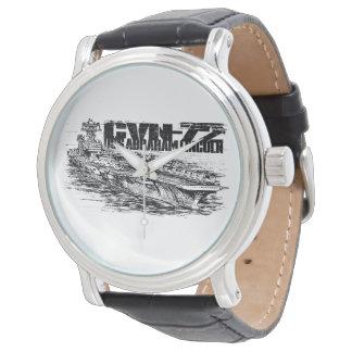 CVN-72 Abraham Lincoln Black Vintage Leather Wristwatches