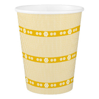 CVPA20043 Poppy yellow and white flower pattern Paper Cup