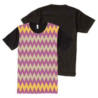 CVPA20050 ZigZag Chevron Yellow Purple Ecru All-Over Print T-Shirt