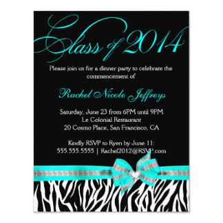 [CWR Tonya G] Black White Teal Zebra Graduation 11 Cm X 14 Cm Invitation Card