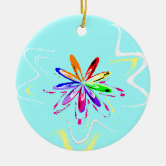Cy Flower.png Double-Sided Ceramic Round Christmas Ornament