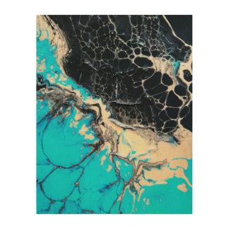 Cyan and black fluid acrylic paint Art work