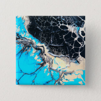 Cyan and black fluid acrylic paint Art work 15 Cm Square Badge