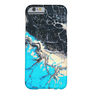 Cyan and black fluid acrylic paint Art work Barely There iPhone 6 Case
