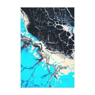 Cyan and black fluid acrylic paint Art work Canvas Print