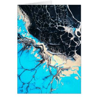 Cyan and black fluid acrylic paint Art work Card