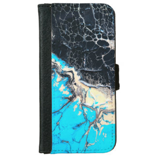 Cyan and black fluid acrylic paint Art work iPhone 6 Wallet Case