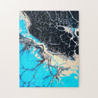 Cyan and black fluid acrylic paint Art work Jigsaw Puzzle