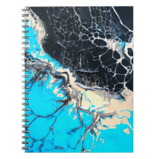 Cyan and black fluid acrylic paint Art work Notebook