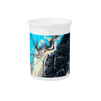 Cyan and black fluid acrylic paint Art work Pitcher