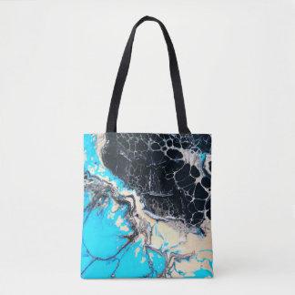 Cyan and black fluid acrylic paint Art work Tote Bag