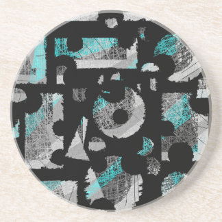 Cyan and gray abstraction beverage coaster