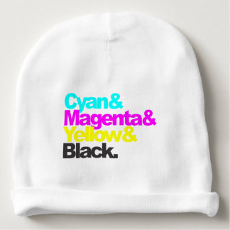 Cyan and Magenta and Yellow and Black Baby Beanie
