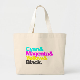 Cyan and Magenta and Yellow and Black Large Tote Bag