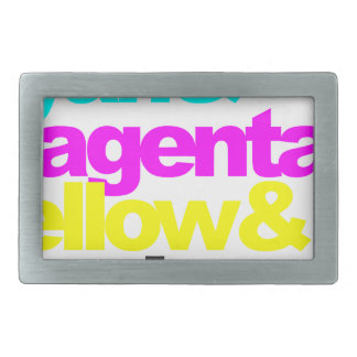 Cyan and Magenta and Yellow and Black Rectangular Belt Buckle