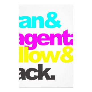 Cyan and Magenta and Yellow and Black Stationery