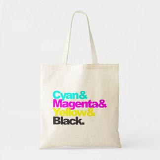 Cyan and Magenta and Yellow and Black Tote Bag