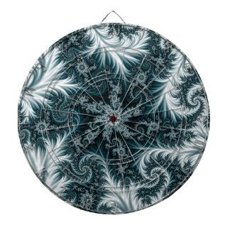 Cyan and white fractal pattern. dartboard
