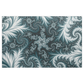 Cyan  and white fractal pattern. fabric