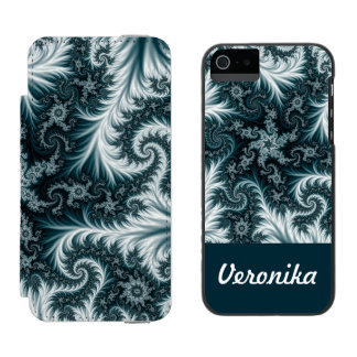 Cyan and white fractal pattern. incipio watson™ iPhone 5 wallet case