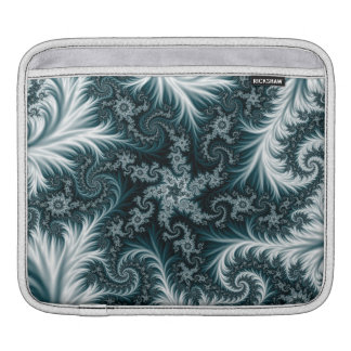 Cyan and white fractal pattern. iPad sleeve