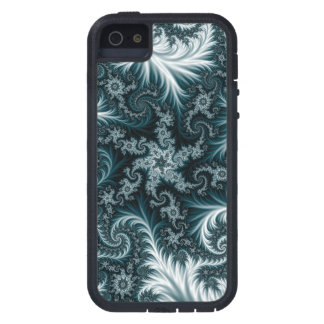 Cyan  and white fractal pattern. iPhone 5 cover