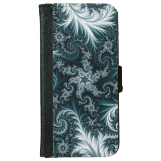 Cyan and white fractal pattern. iPhone 6 wallet case