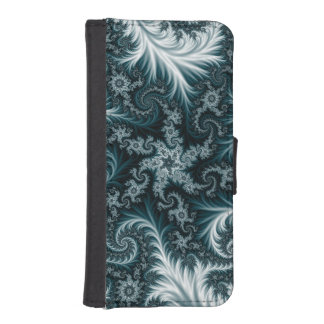 Cyan and white fractal pattern. iPhone SE/5/5s wallet case
