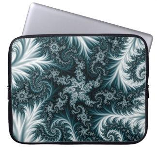 Cyan and white fractal pattern. laptop sleeve