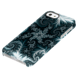 Cyan and white fractal pattern. permafrost® iPhone SE/5/5s case
