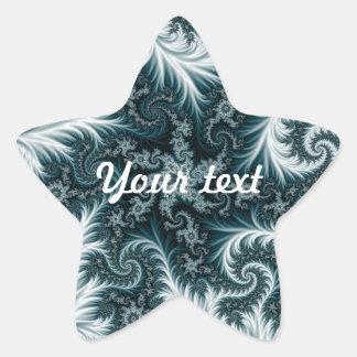 Cyan and white fractal pattern. star sticker