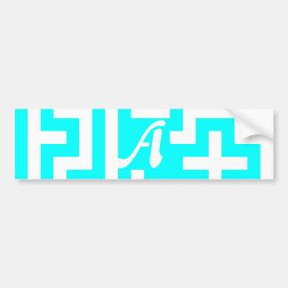 Cyan and White Maze Monogram Bumper Sticker