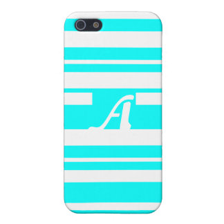 Cyan and White Random Stripes Monogram iPhone 5/5S Cover