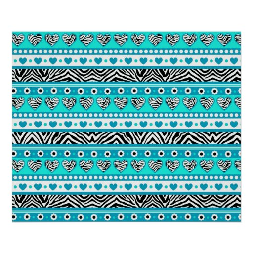 Cyan black & white abstract zebra hearts and dots poster