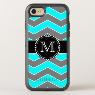 Cyan Blue, Grey, Black Chevron, Monogrammed OtterBox Symmetry iPhone 8/7 Case