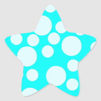 Cyan Blue Modern Dots Pattern Star Stickers