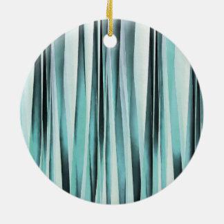 Cyan Blue Ocean Stripey Lines Pattern Ceramic Ornament