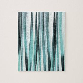 Cyan Blue Ocean Stripey Lines Pattern Jigsaw Puzzle