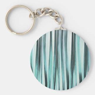Cyan Blue Ocean Stripey Lines Pattern Key Ring