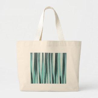 Cyan Blue Ocean Stripey Lines Pattern Large Tote Bag
