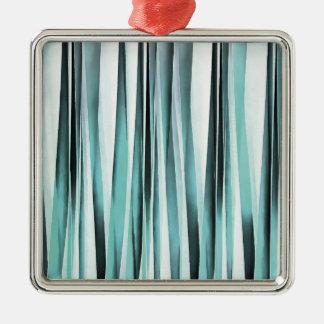 Cyan Blue Ocean Stripey Lines Pattern Metal Ornament