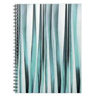 Cyan Blue Ocean Stripey Lines Pattern Notebook