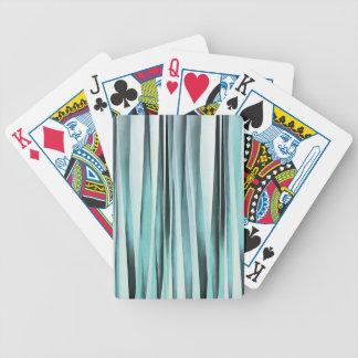 Cyan Blue Ocean Stripey Lines Pattern Poker Deck