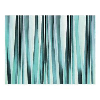 Cyan Blue Ocean Stripey Lines Pattern Postcard