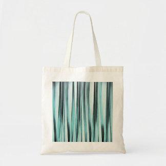 Cyan Blue Ocean Stripey Lines Pattern Tote Bag