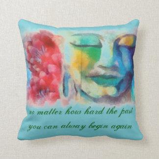Cyan Buddha Quotes Pillows