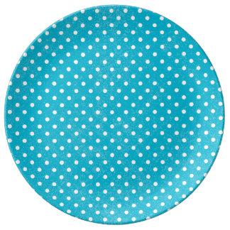 Cyan Country Retro Polka Dots Porcelain Plates
