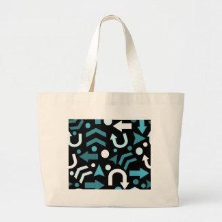 Cyan direction pattern large tote bag