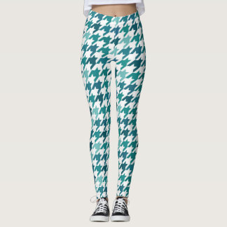 cyan Fashion Print -  cyan Houndstooth Pattern Leggings